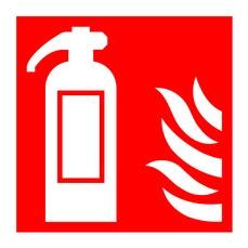 Fire Extingr Symbol/Flame 100x100 PVC