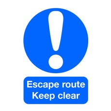 Escape Route Keep Clear A5 S/A FX01051S