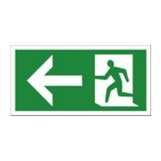 Fire Exit Left 150x300mm S/A E582/S