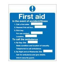 FirstAid Notice 230x195mm S/A M27A/S