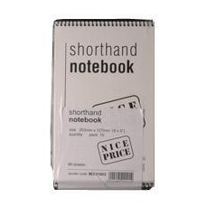 White Box Spiral Shorthand Notebook 80 Leaf